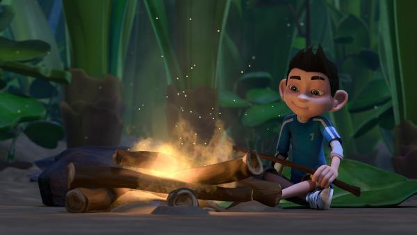 Zak macht ein Lagerfeuer.   Rechte: KiKA/One Animation PTE LTD.