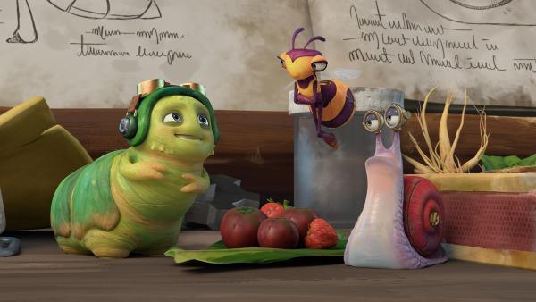 Chowser, Willow und Syd essen Beeren zum Frühstück.    Rechte: KiKA/One Animation PTE LTD.