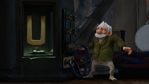 Gramps versucht die Maschine zu reparieren, um Zak wieder sichtbar zu machen.    Rechte: KiKA/One Animation PTE LTD.