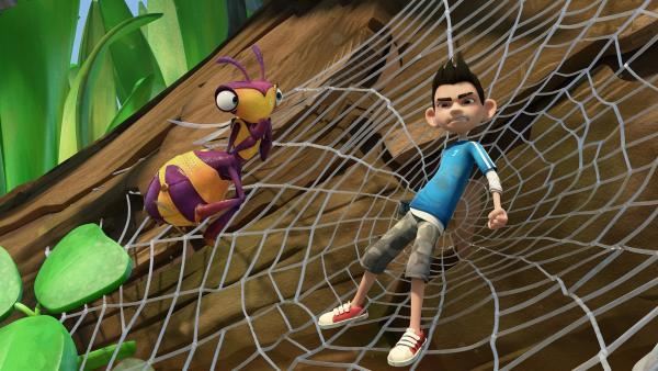 Zak ist in einem Spinnennetz gefangen.  | Rechte: KiKA/One Animation PTE LTD.