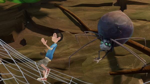 Kann Zak die Spinne mit Hilfe des Hologramms reinlegen?  | Rechte: KiKA/One Animation PTE LTD.