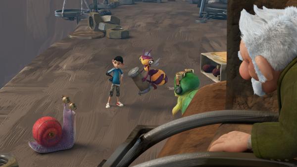 Syd, Zak, Willow und Chowser haben ein neues Mikronator-Teil gefunden.  | Rechte: KiKA/One Animation PTE LTD.