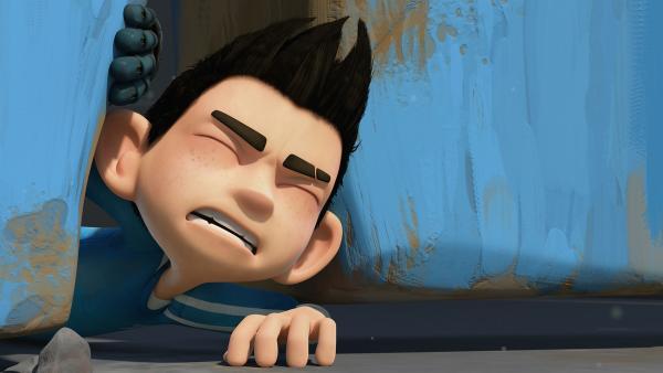 Nun passt Zak nicht mehr durch den Spalt des Schuppens. | Rechte: KiKA/One Animation PTE LTD.