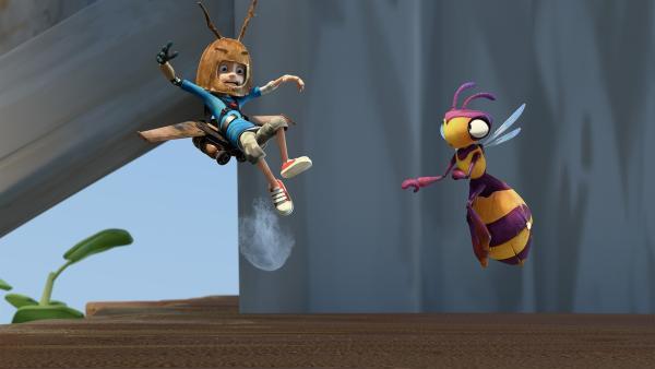 So einfach ist das Fliegen mit dem Jet-Pack nicht. | Rechte: KiKA/One Animation PTE LTD.