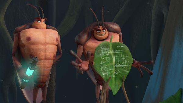 Durch die Strahlen sind Hye und Lo plötzlich sehr intelligent. | Rechte: KiKA/One Animation PTE LTD.