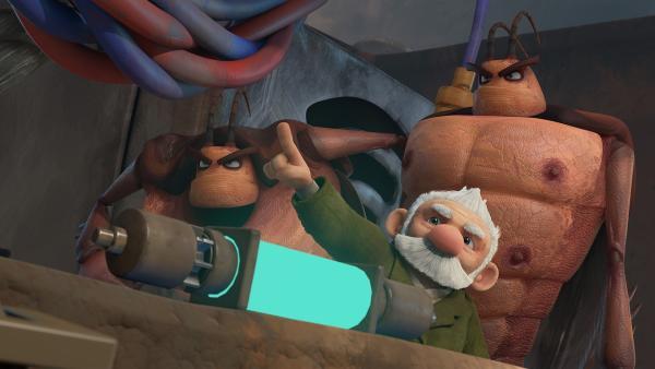 Gramps nutzt die Unterstützung durch Hye und Lo. | Rechte: KiKA/One Animation PTE LTD.