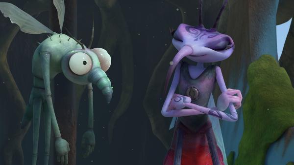 Gnat berichtet Adilla die Neuigkeiten. | Rechte: KiKA/One Animation PTE LTD.