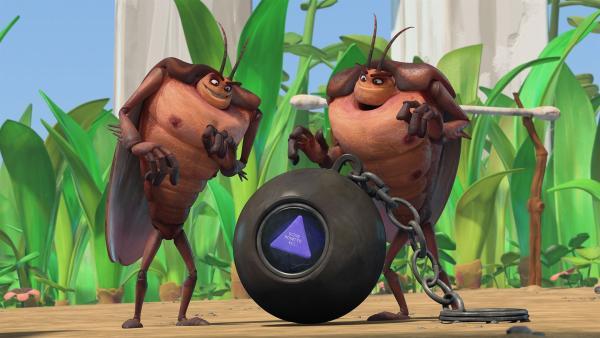 Hye und Lo testen die magische Billardkugel. | Rechte: KiKA/One Animation PTE LTD.