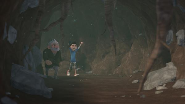 Gramps und Zak suchen das letzte fehlende Teil des Mikronators.  | Rechte: KiKA/One Animation PTE LTD.