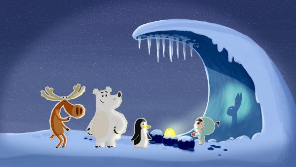Inui und ihre Freunde, Hubert, der schusselige Elch, Grumpel, der brummige, aber sehr starke Bär, und die Pinguindame Lissy, wollen sich das wunderschöne polare Nordlicht anschauen, das nur in ganz wenigen Nächten zu sehen ist. Dafür sind sie abends auf einen Berg marschiert und unternehmen nun alles, um wach zu bleiben. | Rechte: ZDF/JEP Animation