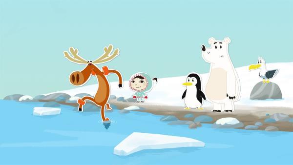 Hubert behauptet, das Wasser sei für ein Bad viel zu kalt. In Wirklichkeit kann er gar nicht schwimmen. | Rechte: ZDF/JEP Animation