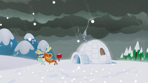 Wie aus dem Nichts verdunkelt sich der Himmel und es beginnt ein heftiges Hagelgewitter. Inui und Hubert rennen gerade noch rechtzeitig zum schützenden Iglu. | Rechte: ZDF/JEP Animation