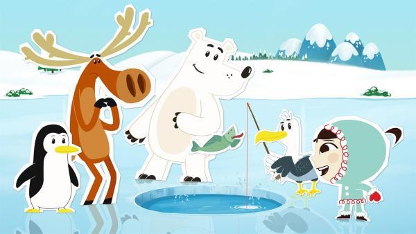 Die Möwe Arnold hat Inui, Grumpel, Hubert und Lissy zum Fischen an einem Eisloch eingeladen. | Rechte: ZDF/JEP Animation