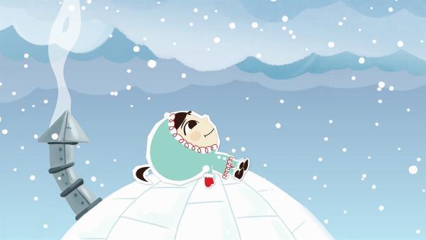 Manchmal legt sich Inui einfach auf das Dach ihres Iglus und lässt die vielen weichen Schneeflocken auf sich herunterrieseln. | Rechte: ZDF/JEP Animation