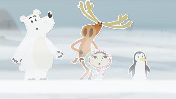 Auf einem Spaziergang sind Grumpel, Hubert, Inui und Lissy vom Nebel überrascht worden. Wie sollen sie jetzt den Weg nach Hause finden? | Rechte: ZDF/JEP Animation