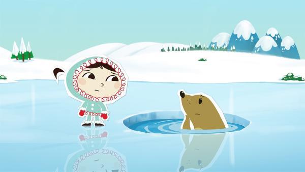 Inui ist enttäuscht, weil Seehund Sascha nicht mit ihr spielen will. | Rechte: ZDF/JEP Animation