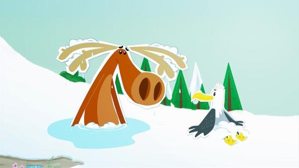 Ein besonders heißer Tag - und da sieht es für Arnold so aus, als würde der arme Hubert schmelzen. Der aber hat sich in eine Pfütze gesetzt, um Arnold reinzulegen. | Rechte: ZDF/JEP Animation