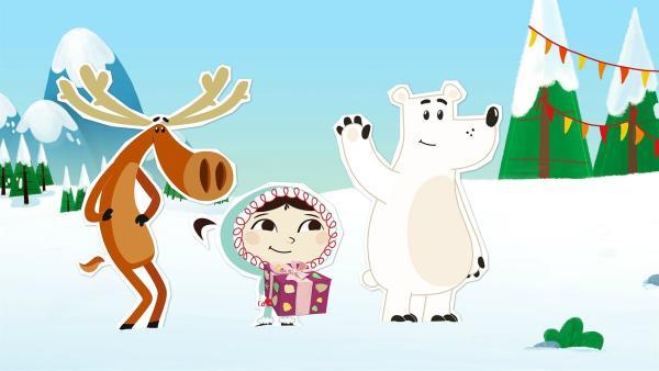 Hubert, Inui und Grumpel haben gerade noch rechtzeitig daran gedacht, dass heute Lissy Geburtstag hat.   Rechte: ZDF/JEP Animation
