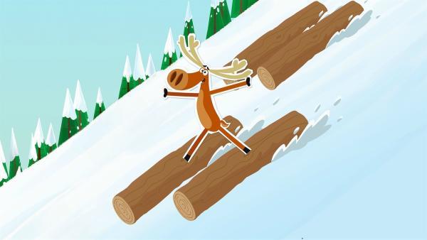 Ein Riesenschneeball ist in einen Holzstapel hineingerollt, und die einzelnen Stämme rutschen nun mit vollem Tempo hinter Hubert her. Aber der weiß sich zu helfen. | Rechte: ZDF/JEP Animation