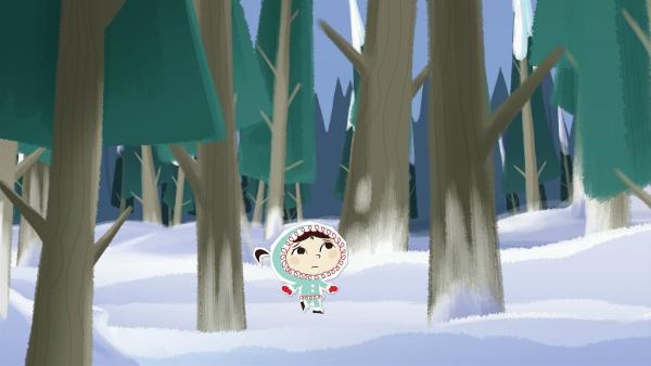Inui hat beim Versteckspiel ihre Freunde verloren und kommt in einen ziemlich unheimlichen Wald. | Rechte: ZDF/JEP Animation
