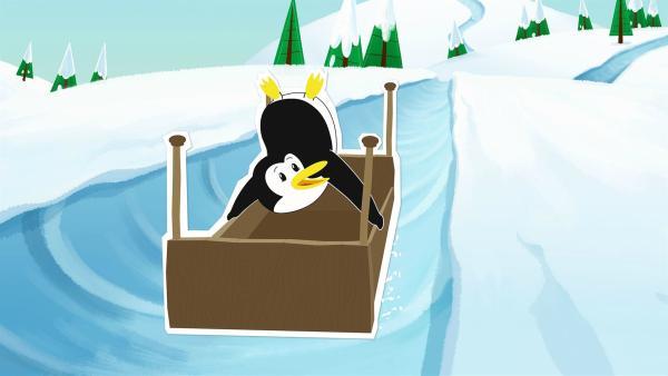 Lissy macht Kunststücke, als sie in vollem Tempo die Eisbahn herunterrutscht. Der Schlitten ist leider kurz vorher kaputtgegangen, deshalb benutzt sie beim Rodeln ein Bettgestell.   Rechte: ZDF/JEP Animation