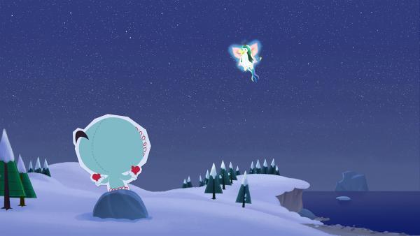 Inui hat sich schon immer gewünscht, nachts einmal der geheimnisvollen Nordpol-Fee zu begegnen. Ihre Freunde erfüllen ihr diesen Wunsch – wenden dazu allerdings einen Trick an.   Rechte: ZDF und JEP-Animation GmbH