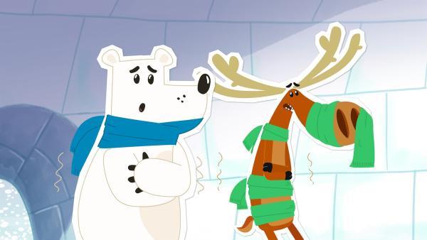 Dass der Elch Hubert friert, kann ja schon mal vorkommen. Aber es muss schon wirklich sehr, sehr kalt sein, wenn es sogar dem Nordpolbären Grumpel in seinem dichten Fell zu viel ist. Beide stehen klappernd in Inuis Iglu, weil dort unglücklicherweise der Ofen ausgefallen. Was sollen sie tun? | Rechte: ZDF und JEP-Animation GmbH