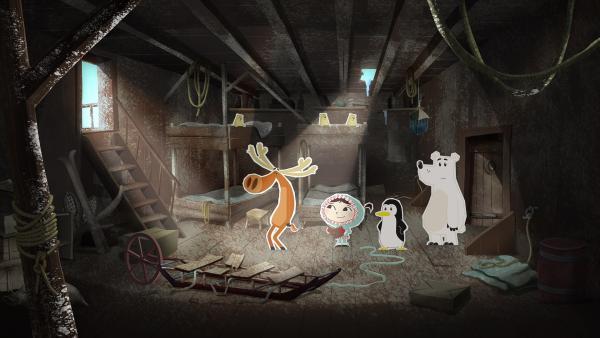 Inui und ihre Freunde haben ein altes Schiff entdeckt. In seinem Inneren entdecken sie Anzeichen dafür, dass sich hier einst Forscher auf eine Expedition zum Nordpol vorbereitet haben.  | Rechte: ZDF und JEP-Animation GmbH