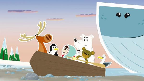 Von Arnold, der Möwe haben Inui und ihre Freunde erfahren, dass in dieser Nacht ein nahegelegener Nordpol-Wasserfall besonders schön aussehen wird. Mit einem Ruderboot und der Hilfe von Waldame Wiebke machen sie sich auf die Reise dahin. | Rechte: ZDF und JEP-Animation GmbH