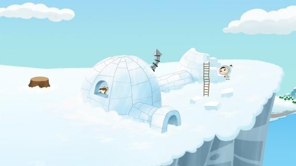 Das großspurige Wiesel Johnny hat Inui überredet, auf einer Eisklippe eine Art Iglu-Plast zu bauen. Inui lässt sich auf die Errichtung ein, ist aber gleichzeitig skeptisch. | Rechte: ZDF und JEP-Animation GmbH