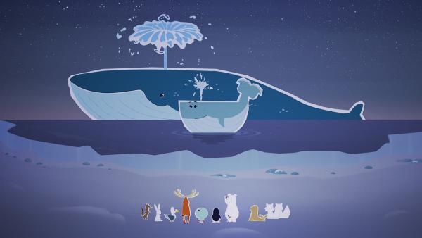 Inui und alle anderen tierischen Bewohner des Nordpols sind völlig verblüfft: sie hätten sich nie vorstellen können, dass es noch einen viel größeren Wal gibt als ihre Wal-freundin Wiebke.  | Rechte: ZDF und JEP-Animation GmbH