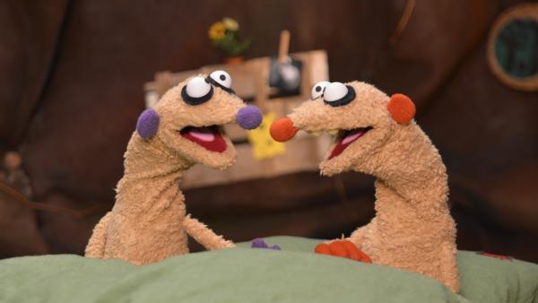 Die Erdmännchen Jan & Henry werden durch ein seltsames Geräusch in Ihrer Küche aus dem Schlaf gerissen.   Rechte: rbb/bigSmile Ent./NDR/MDR