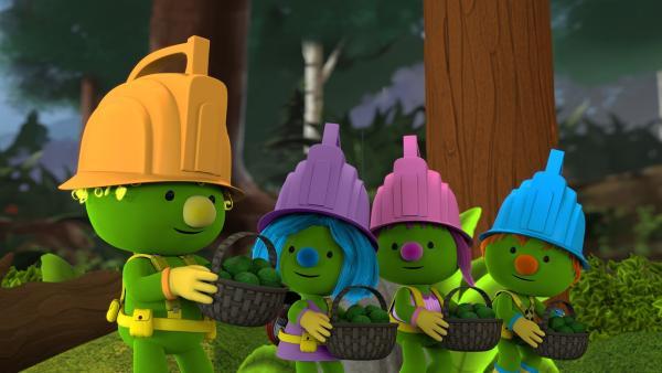 Flex, Daisy, Molly und Spike bringen die Samenbällchen zum Komposteimer. | Rechte: KiKA/The Jim Henson Company/DHX Media