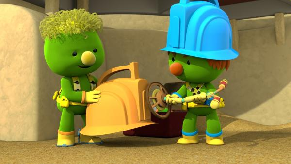 Flex und Spike haben einen Metalldetektor gefunden. | Rechte: KiKA/The Jim Henson Company/DHX Media