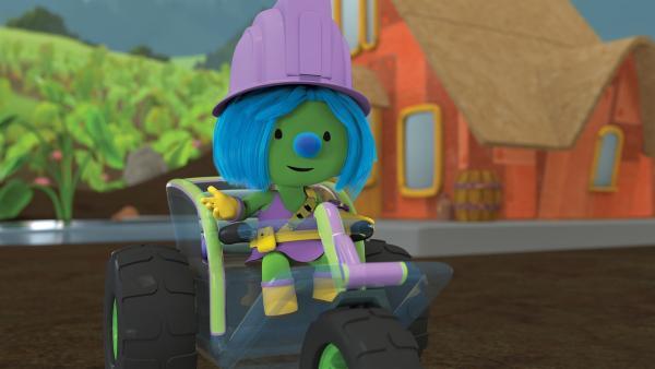 Daisy auf dem Weg zur großen Doozertal-Fahrzeugausstellung.  | Rechte: KiKA /The Jim Henson Company / DHX Media