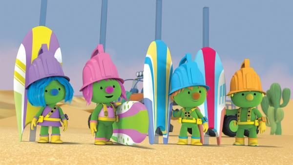Die Doozer wollen im Wüstensand surfen. | Rechte: KiKA /2018 The Jim Henson Company