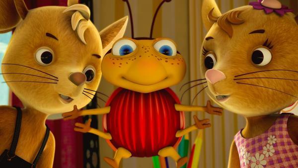 Die Show geht los! Käfer Lu bringt seine Freunde Jo und Naya immer wieder zum Lachen und zum Staunen. | Rechte: ZDF/Scopas Medien AG