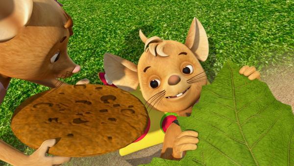 Hmm! Jo ist begeistert. Naya bringt ihm den leckeren Keks direkt an sein Blätterbett im Garten. Ein bisschen Husteritis zu haben, hat seine Vorzüge, findet Jo. | Rechte: ZDF/Scopas Medien AG