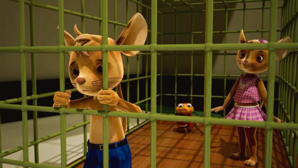 So eine Gemeinheit! Die JoNaLus sind gefangen in einer Mausefalle. Wie sollen sie jemals wieder hier herauszukommen? | Rechte: ZDF/Scopas Medien AG
