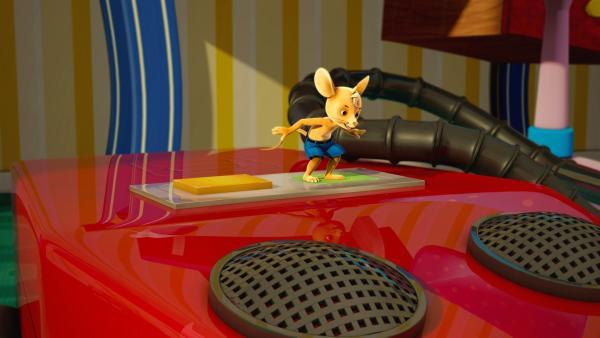 Monsterschreck Jo! Jo weiß jetzt, wie er das Saugmonster beherrschen kann. Er kann es Brummen oder zum Schlafen zu bringen.   Rechte: ZDF/Scopas Medien AG