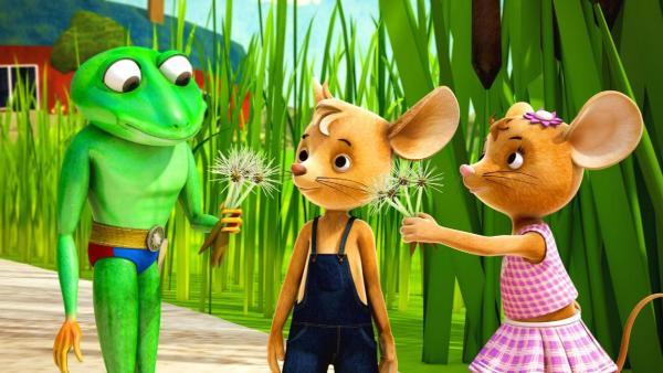 Caruso gibt Jo eine Pusteblume.   Rechte: ZDF