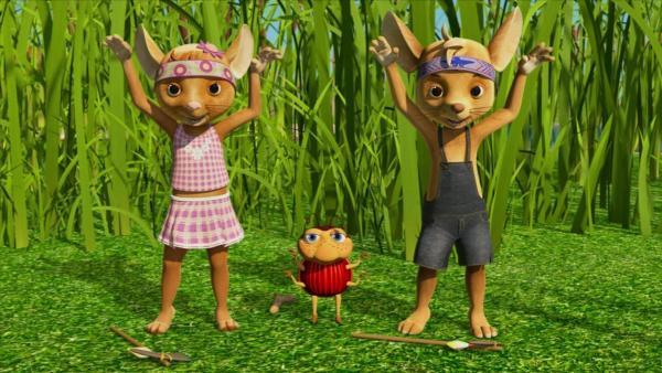 Die drei Freunde Jo, Naya und Ludwig, maskiert als Indianer, stehen auf einer Wieser nebeneiandner und strecken die Armen hoch. | Rechte: ZDF