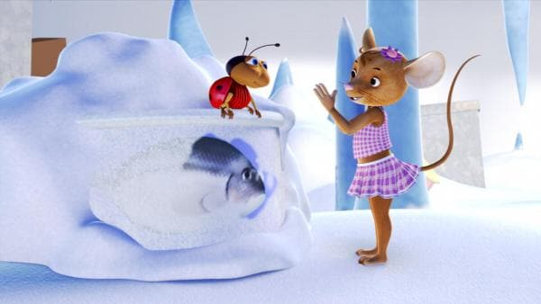 Naya und Ludwig erkunden das Eisfach. | Rechte: ZDF