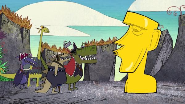 Die Dino-Piraten Terry, Dippy, Stöcki und T-Rex haben den Schatz gefunden: die goldene Statue auf dem Gipfel des Vulkanbergs. | Rechte: ZDF/SRL Productions/Telegael Teoranta