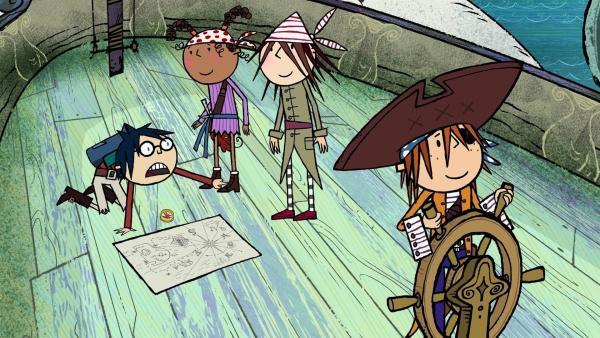 Tom (l.) versteht die Welt nicht mehr, seine Routen sind verkehrt. Ruby, Wilma und Flinn machen sich über ihn lustig.   Rechte: ZDF/SRL Productions/Telegael Teoranta