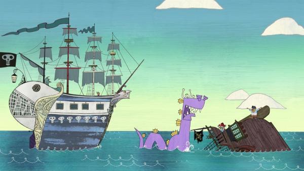 Das Meeresmonster hat ein Schiff zum Kentern gebracht. | Rechte: ZDF/SRL Productions/Telegael Teoranta