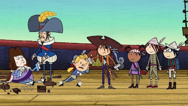 Die Dino-Piraten haben den Thron des Königs (li.) geklaut. Flinn (Mi.) und seine  Crew – Tom, Wilma und Ruby (v.r.n.l) – sollen helfen, müssen aber vorerst den übereifrigen Prinz Justus (3.v.l.) bremsen.   Rechte: ZDF/SRL Productions/Telegael Teoranta