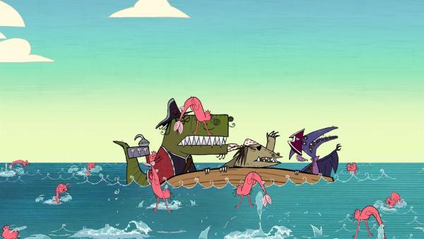 Dank Dippy sinkt das Boot der Dino-Piraten (mit T-Rex, Stöcki und Terry v.l.n.r.) und liefert sie den Seefrettchen aus. | Rechte: ZDF/SRL Productions/Telegael Teoranta