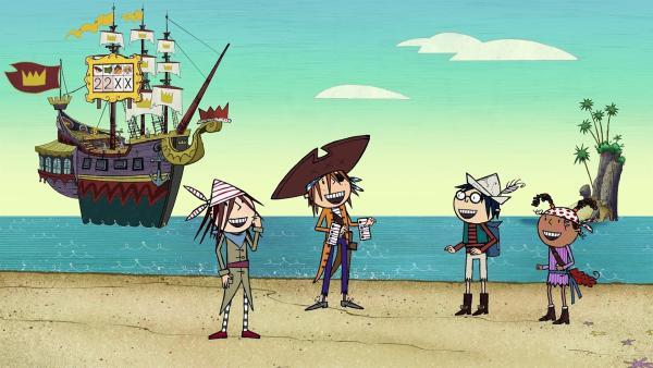 Wilma, Flinn, Tom und Ruby (v.l.n.r.) freuen sich: in den ersten beiden Wettbewerben haben sie 2 Punkte erzielt. Wie die Anzeigetafel auf dem Schiff des Königs zeigt, liegen sie mit den Dino-Piraten im Gleichstand. | Rechte: ZDF/SRL Productions/Telegael Teoranta