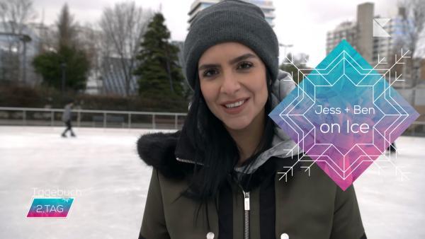 Jess auf Eislaufbahn, Logo Jess und Ben on Ice, Insert tagebuch Tag2 | Rechte: KiKA / Rozhyar Zolfaghari